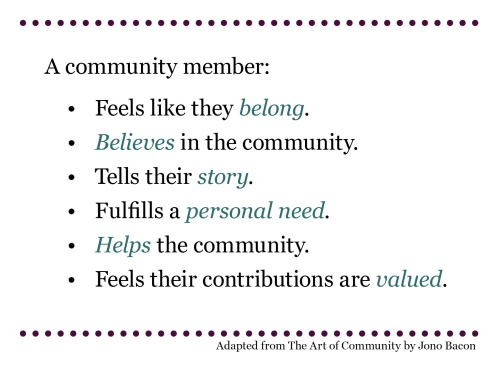 What makes a community member