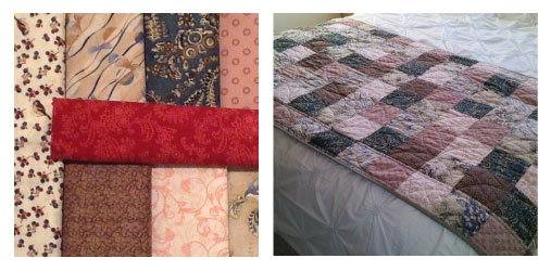 Quilt piecing: taking different fabrics (l), cutting them into different shapes, then stitching pieces together to make a quilt top (r)